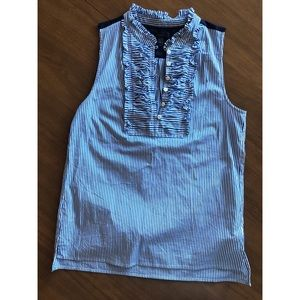 JCREW Blue Pinstripe Blouse